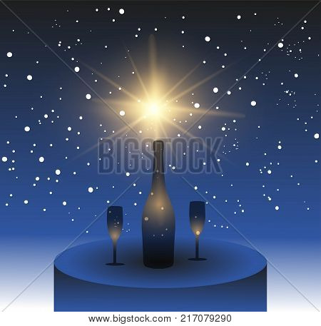 New Year theme winter landscape, with Champagne glasses, vector illustration