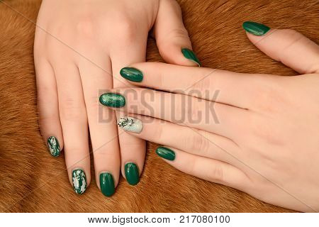 Graft Nails Design French Manicure On A Background Of Black Leather Bags With All Fingers
