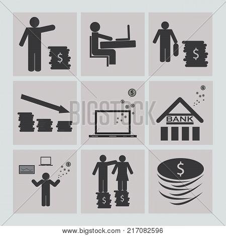 Business and financepartner job money vector meeting sign Icons.