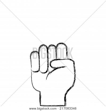 figure hand with oppose gesture symbol communication vector illustration