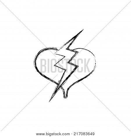 figure heart with thunder symbol lobe design vector illustration
