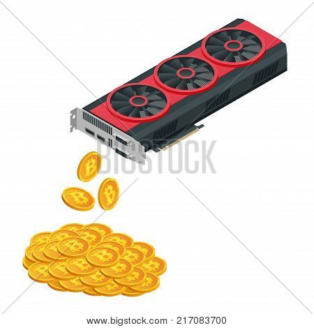 Isometric Mining Farm crypto Bitcoin or Mining video card, Miner of GPU, Technology extraction crypto currency, Virtual money, vector flat illustration