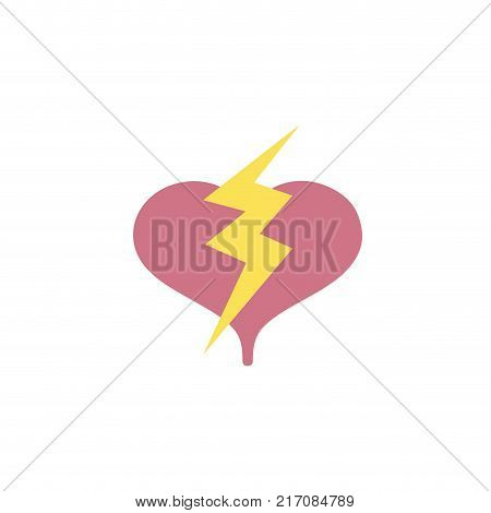 colorful heart with thunder symbol lobe design vector illustration