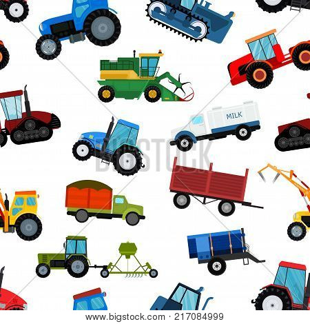 Agriculture tractor machine industrial farm equipment harvest machine tractors combines and farmers machinery excavators vector illustration seamless pattern background.