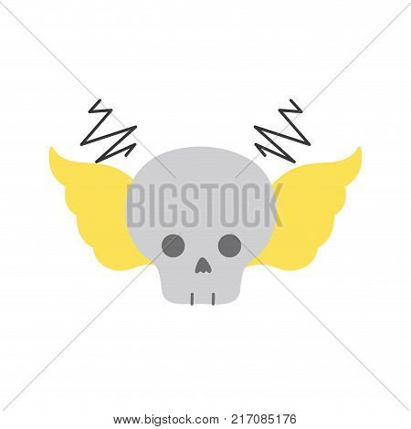 colorful skull with wings rock art symbol vector illustration