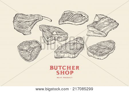 Set vintage hand-drawn different cuts of meats. Engraving pictures for concept of farmer's market and shop. Vector Illustration.