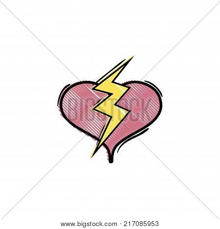 grated heart with thunder symbol lobe design vector illustration