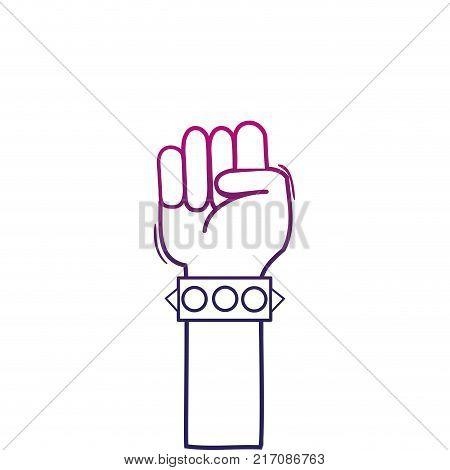 color line hand with bracelet and oppose gesture symbol vector illustration