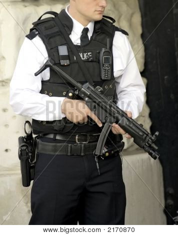 Armed British Police Officer