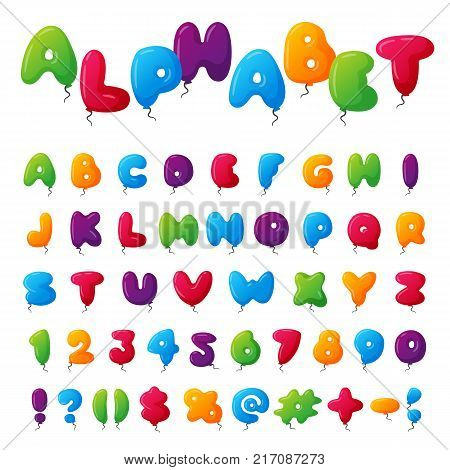 Balloon alphabet character set illustration with kids style toys colorfull air balls isolated on white Birthday celebration event ABC baby design.