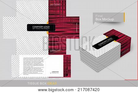 Primary color brush stroke tissue box template concept template for Business Purpose Place Your Text and Logos and Ready To GO For Print.