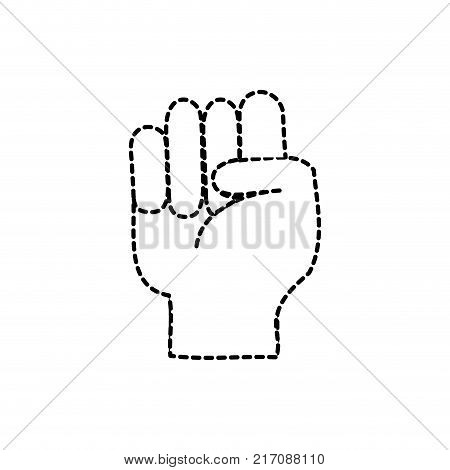 dotted shape hand with oppose gesture symbol communication vector illustration