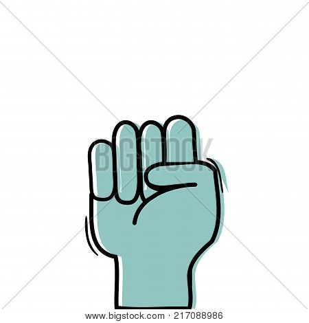 color hand with oppose gesture symbol communication vector illustration