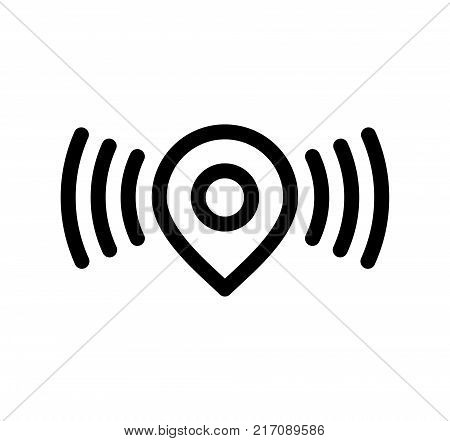 Wireless Location Pin. Simple Vector Illustration Of A Straight Location Pin Marking A Spot Where Wireless Network Available.