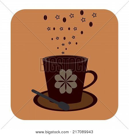 Beautiful Cofee cup icon.on a brown background