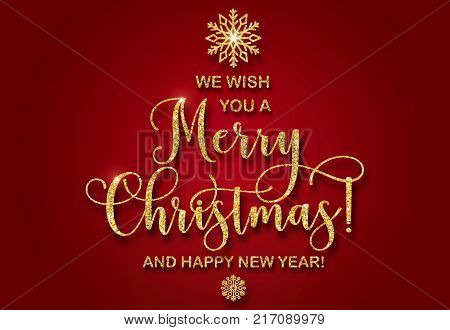 Greeting card with golden glitter text We wish you a Merry Christmas and a Happy New Year Abstract Christmas tree shape. Golden snowflakes from shiny powder on red background