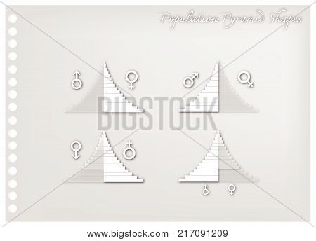 Population and Demography, Illustration Paper Art Craft of Detail of Population Pyramids Charts or Age Structure Graphs.