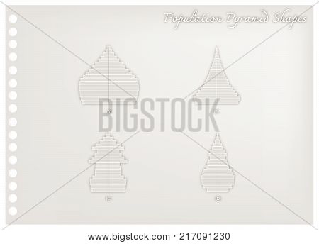 Population and Demography, Illustration Paper Art Craft of 4 Types of Population Pyramid Charts or Age Structure Graphs.