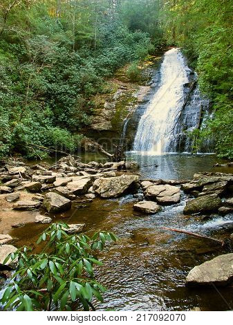 Upper Helton Creek Falls in the Chattahoochee National Forest of Georgia