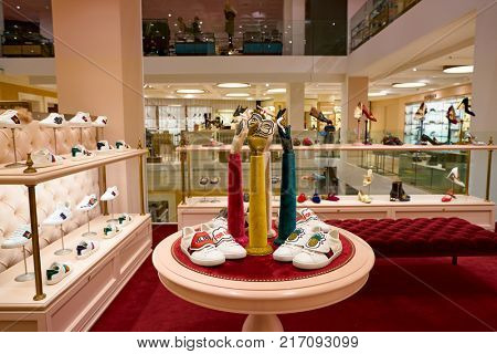 ROME, ITALY - CIRCA NOVEMBER, 2017: Gucci shoes on display at a second flagship store of Rinascente in Rome.