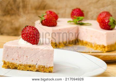 Slice of strawberry cheesecake, homemade bakery, sweet and dessert