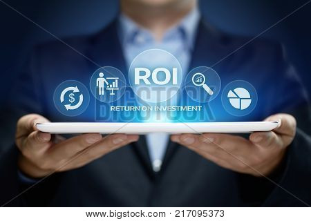 ROI Return on Investment Finance Profit Success Internet Business Technology Concept.