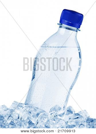 Water bottle in ice, isolated on white background