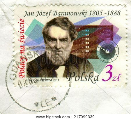 GOMEL, BELARUS, 30 NOVEMBER 2017, Stamp printed in Poland shows image of the Jan Jozef Baranowski - Polish economist and financier, nobleman, linguist, engineer, circa 2011.