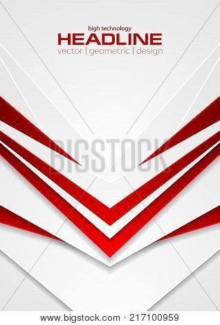 Red and white abstract tech arrows flyer background. Vector corporate geometry design