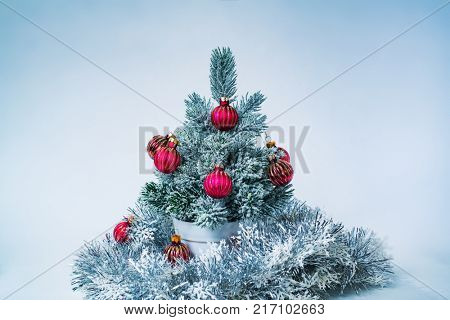 Small decorated new year tree on white and blue background