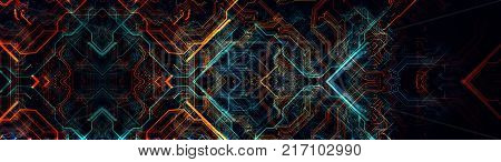 Abstract technological background made of different element printed circuit board. Depth of field effect and bokeh can be used as digital dynamic wallpaper. 3d Rendering
