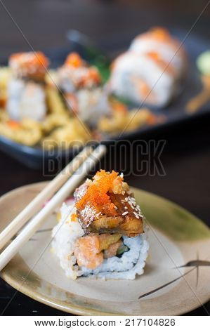 Sushi Japanese soy sauce grilled freshwater eel sauce on the dish Japanese food