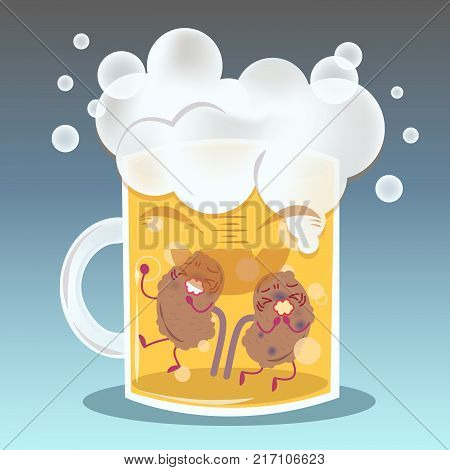cute cartoon kidney feel pain on beer