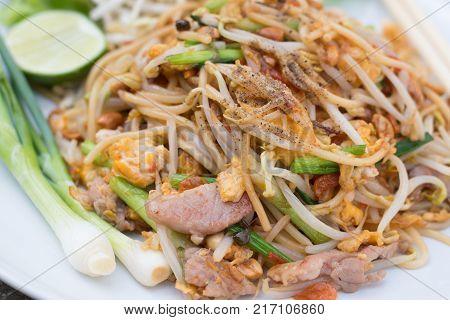 Spaghetti Thai traditional fusion food (Spaghetti Pad Thai)