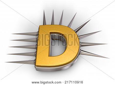 letter d with metal prickles on white background - 3d illustration