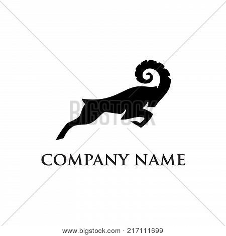 Hunting Club Logo Template. Deer Head and Horns Silhouette Isolated On White Background. Vector object for Labels, Badges,