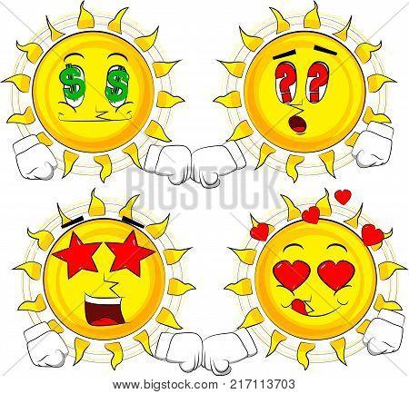 Cartoon sun giving a fist bump. Collection with various facial expressions. Vector set. poster