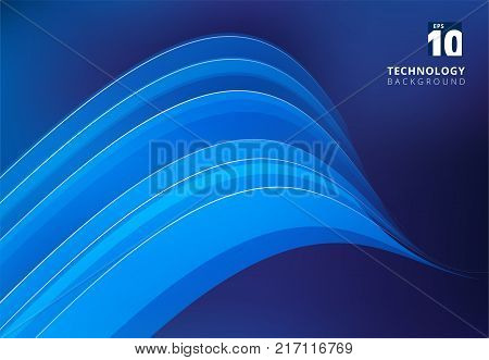 Abstract blue image that depicts technology with overlapping curve lines. Vector illustration