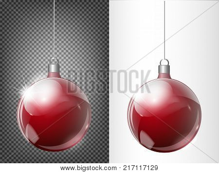 Glass red Christmas toy on a transparent background. Stocking Christmas decorations. Transparent vektor object for design, mocap. Vector illustration. 10 EPS