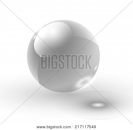 Vector 3D realistic water spherical ball. Glassy sparkling shiny droplet bubble isolated on transparent background. Eco concept