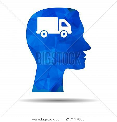 Blue Triangle design icon with human head, brain and truck. Abstract Blue Triangle Polygonal Man head and truck