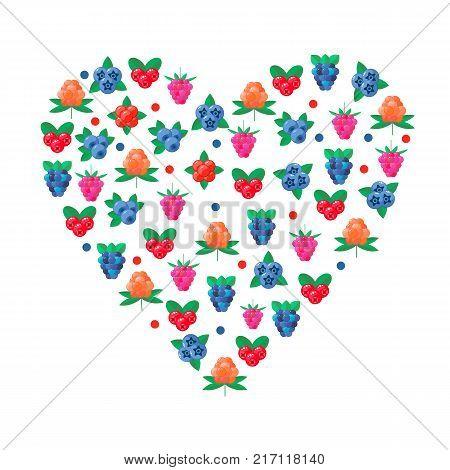 vector illustration. wild forest berries. cranberry, raspberry, blueberry, BlackBerry stone bramble cloudberries heart