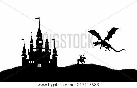 Black silhouette of dragon and knight on white background. Landscape with castle. Fantasy battle. Vector illustration