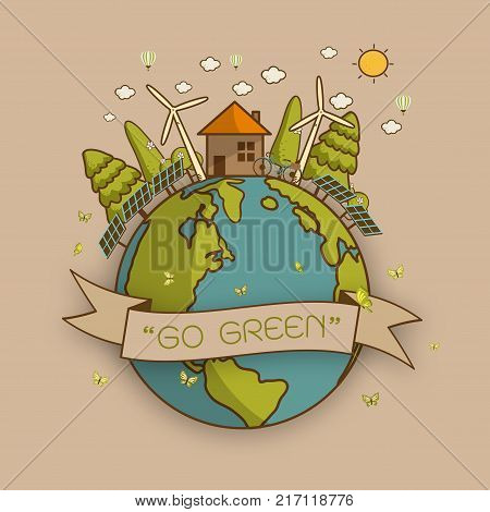 Vector illustration of eco earth with of wind turbine bike solar cell house and trees. Background for save earth day. Environmental ecology nature protection and pollution concept.