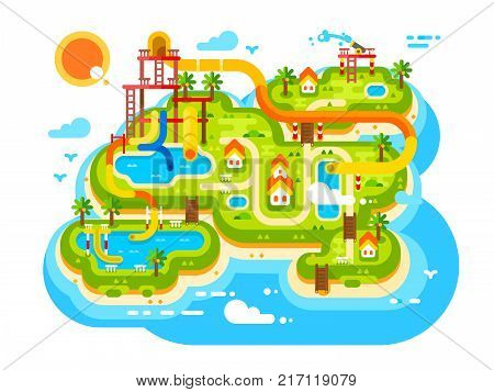 Aquapark plan with water slides. Outdoor park with aqua attractions for summer holiday and resort travel, vector illustration