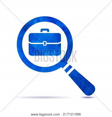 vector blue triangular polygonal magnifying glass with flat portfolio briefcase icon, search icon design, search icon web, vector magnifying glass