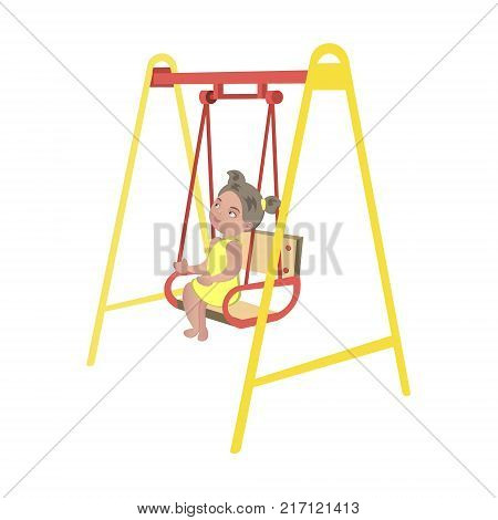 Little girl on swing Isolated. Vector illustration