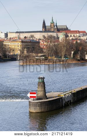 River Navigation Sign On Vltava With Hradcany Castle, Prague, Bohemia