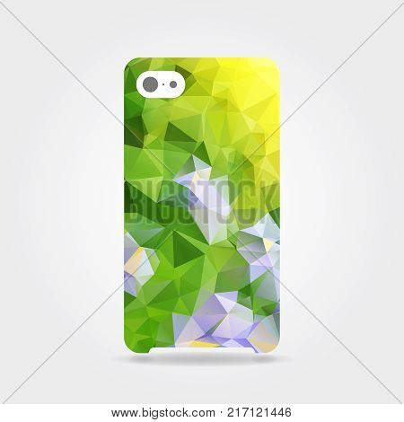 Colorful natural triangular phone case. Yellow polygonal template cover phone or case smartphone. Mobile phone modern cover back