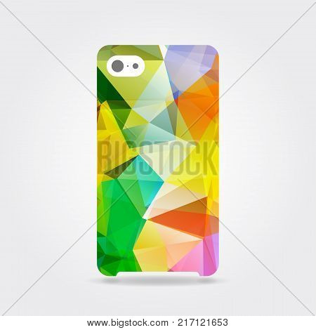 Colorful triangular phone case. Colorful polygonal template cover phone or case smartphone. Mobile phone modern cover back